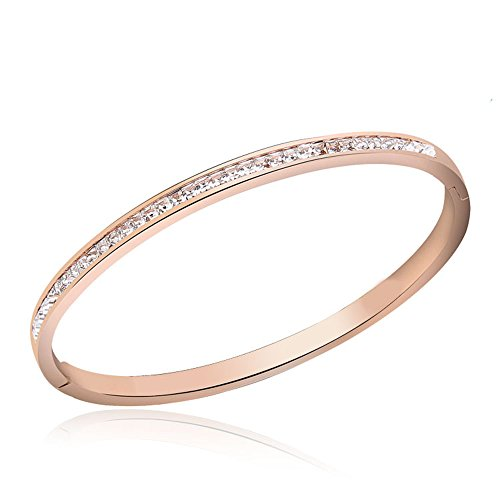 (Lemon Grass 1/3 CWT Lab Diamond 4mm Hinge Bangle Bracelet in Stainless Steel Plated in 14K Rose Gold)