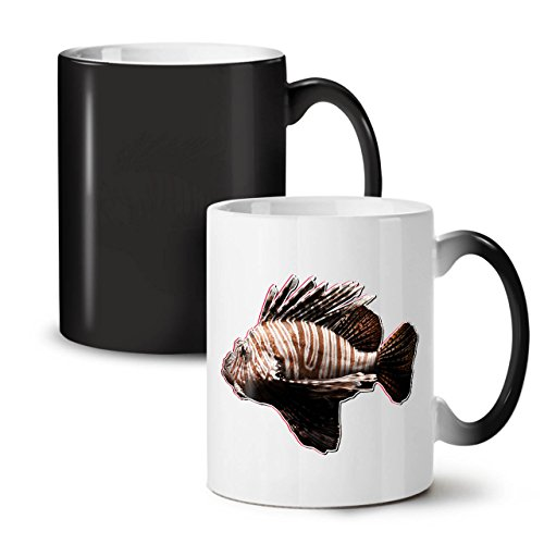 [Simple Scorpion Fish Striped Black Colour Changing Tea Coffee Ceramic Mug 11 oz | Wellcoda] (Simple Parade Float Ideas)