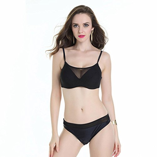 señoras de la manera triángulo bikini traje de baño traje de baño partido Black
