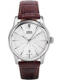 Artelier Date Silver Dial Brown Leather Mens Watch 733-7670-4051LS. Oris