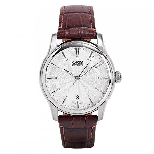 Oris Artelier Date Silver Dial Brown Leather Mens Watch 733-7670-4051LS