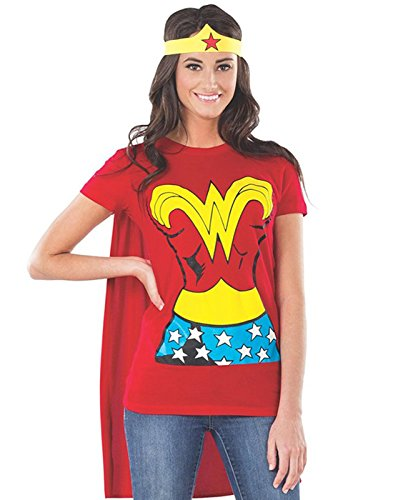Funny Movie Character Halloween Costume Ideas (DC Comics Wonder Woman T-Shirt With Cape And Headband, Red, X-Large)