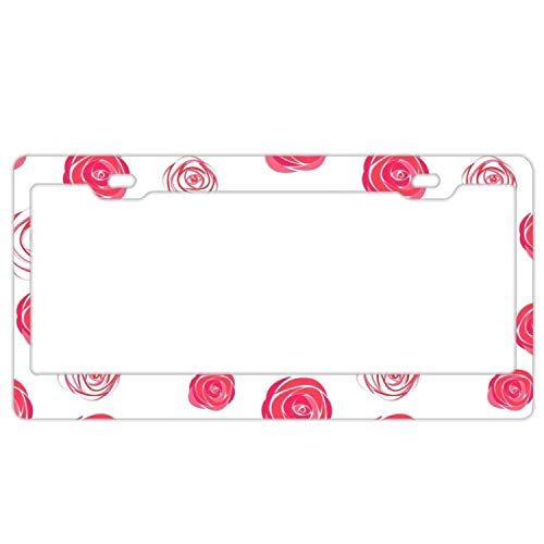 YEX Abstract Rose Art License Plate Frame Novelty Car Tag Frame Auto License Plate Holder 12 x 6 Inch ()