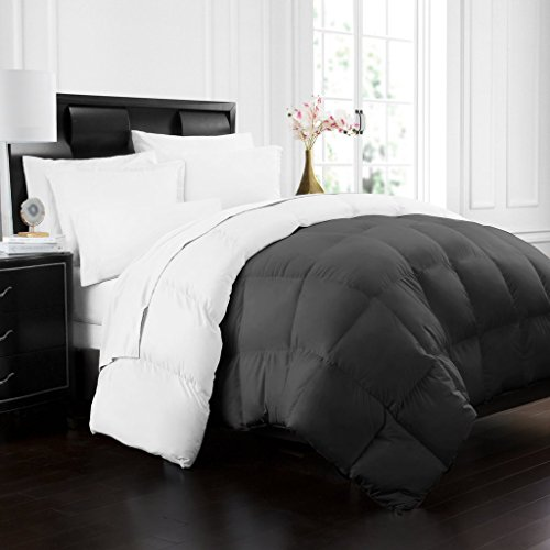 Beckham Hotel Collection 1700 Series Luxury Goose Down Alternative Reversible Comforter - Premium Hypoallergenic - All Season - Duvet - Twin/Twin XL - Gray/White