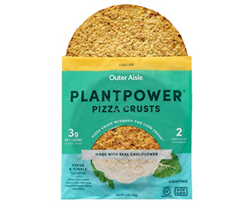 Outer Aisle Gourmet Cauliflower Pizza Crusts | Low Carb, Paleo Friendly, Keto | Italian, 4 Pack - 8 Crusts ()