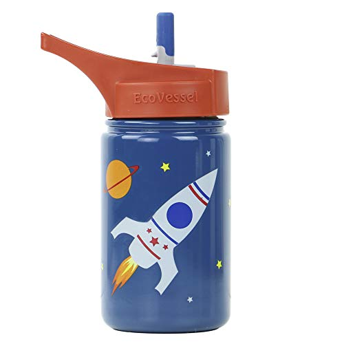 EcoVessel Scout Kids Stainless Steel Water Bottle with Flip Straw top and Silicone Straw - 13 Ounces - Blue Rocketship