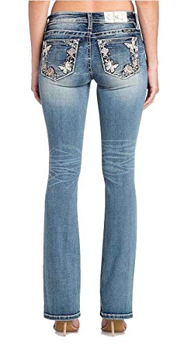 Miss Me Butterfly Rose Flower Border Medium Wash Mid-Rise Boot Cut Women's Jeans M3332B (27)