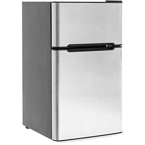 3.2 Cu. Ft. Stainless Steel Double Doors Compact Mini Refrigerator Internal Freezer Compartment Cooler Fridge Perfect For Home Kitchen Hotel Office Dorm Wet Bars Adjustable Temperature Mechanism