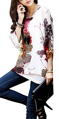 Dizoe Mujeres Gasa Blusa Suelto Murciélago Manga Cuello Redondo Camiseta Boho A11