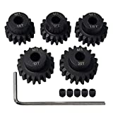 AMOGOT Metal Steel M1 Pinion Gear Sets 16T 17T 18T 19T 20T 5mm Shaft Motor Gears with Hex Key for 1/10 RC Brushless Brush Motor