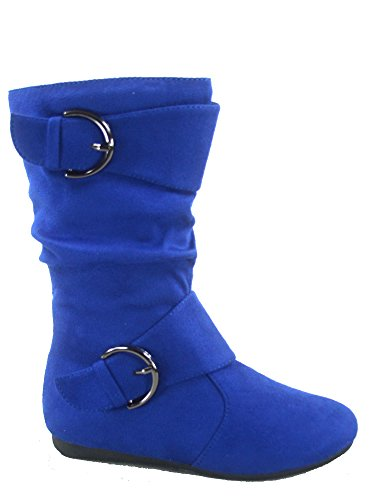 - Link Klein-70k Girl's Kid's Faux Suede Two Buckle Zipper Flat Heel Mid Calf Slouchy Boot Shoes (4 B(M) US, Blue)