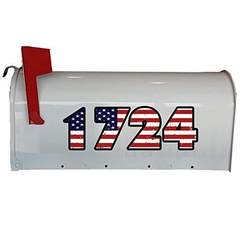 (VWAQ Personalized Mailbox Address Decals - Mailbox US American Flag - Custom Mailbox Numbers Vinyl Stickers - TTC2-P)