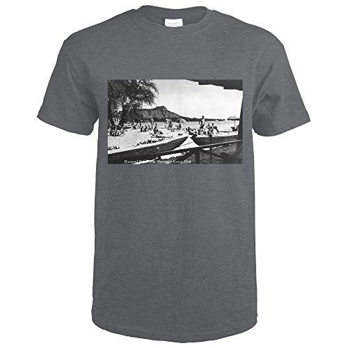 Hawaii - O'ahu Island; Diamond Head From Outrigger Canoe Club - Vintage Photograph (Dark Grey Heather T-Shirt (Vintage Outrigger Canoe Sign)