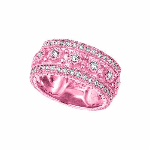 - 14k Pink Gold Diamond byzantine Ring - 1.15ctw. Diamond