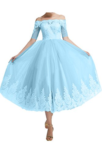 Ivydressing Tuell Partykleid Applikation Sweetheart Ballkleid Linie Wadenlang Kragen Festkleid Abendkleid Aermel gerade Blau Spitze A kurze rxr746wnUT