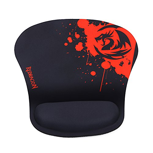Redragon P020 Gaming Mouse Pad with Wrist Rest Support Memory Foam Wrist Cushion Black Red Thick Version Waterproof Pixel-Perfect Accuracy Optimized for All Computer Mouse Sensitivity MMO Sensors