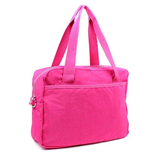 Purple Shoulder Handbag Multi Lightweight Pockets Flower Strap Duffel Nylon Fabric Ladies Holdall With Zip Bag Shoulder Multiuple Aossta q1T86wtx