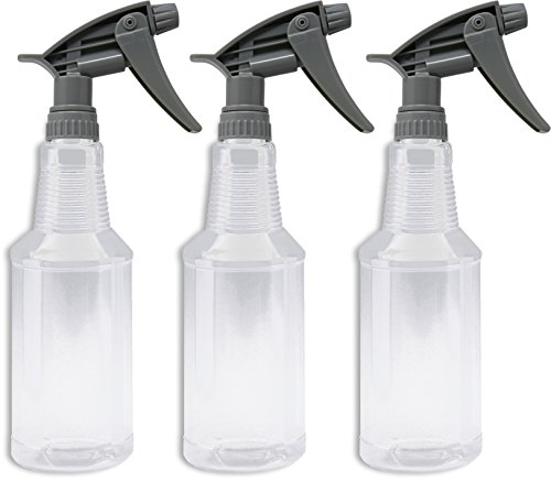 - Bar5F Plastic Spray Bottles, Empty Clear 16 Ounce, BPA Free PETE1, CarafGgrip, Chemical Resistant N12 Fully Adjustable Sprayer, Value Pack of 3