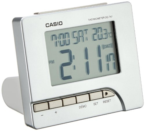 Casio DQ-747-8EF Digital Silver Tone Alarm Clock ()