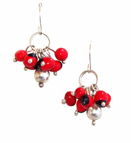 Peruvian Earrings for Women - Huayruro Red Black Seed, Dangles - Handmade Jewelry by Evelyn ()