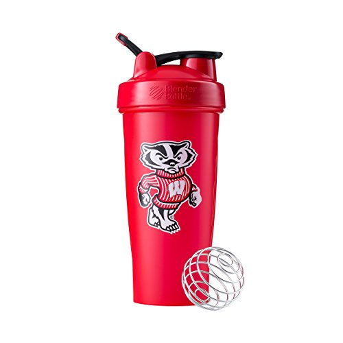 BlenderBottle Collegiate Classic 28-Ounce Shaker Bottle, University of Wisconsin Badgers - Red/Red