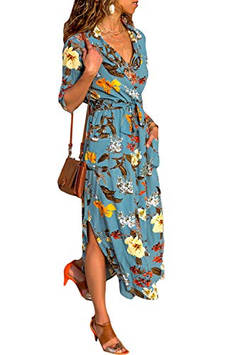 SEBOWEL Floral Printed Long Sleeve Long Belted Chiffon Shirt Dress for Women ()