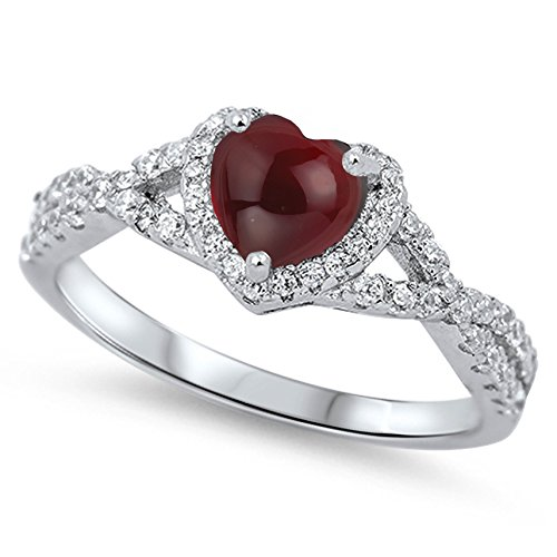 925 Sterling Silver Cabochon Natural Genuine Reddish Purple Garnet Heart Halo Promise Ring Size 8 ()