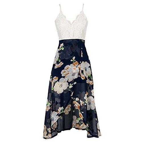 Ganuo Elegant Women Midi Dresses Spaghetti Strap Sleeveless V-Neck Lace Patchwork Straight Chiffon Dresses,Medium,Multi