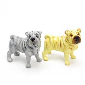 Shar Pei Dog Ceramic Figurine Salt Pepper Shaker 00014 Ceramic Handmade Dog Lover Gift Collectible Home Decor Art and Crafts