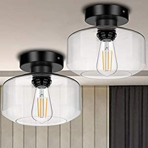 [2 Pack] Industrial Semi Flush Mount Ceiling Light,Farmhouse Light Fixture with E26 Base Clear Glass Pendant Lamp Shade…