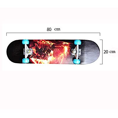 XUEYING-KickScooter Four-Wheel Skateboard Beginner Children and Adolescents Longboard Professional Sliding Street Double-Warped Skateboard (Color : A): Home & Kitchen