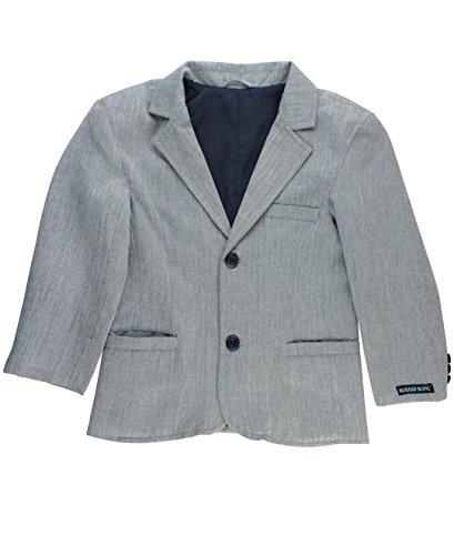RuggedButts Infant/Toddler Boys Formal Gray Herringbone Blazer w/Navy Buttons - Hamilton Herringbone - 3-6m ()