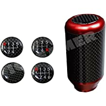 ICBEAMER Drifting Styles [Color: Red ] Aluminum and Real Carbon Fiber Manual Gear Stick Shift Knob 5 6 Speeds Pattern