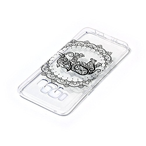 CaseHome Samsung Galaxy S8 gel de Silicona TPU Funda (Con Gratis Lápiz táctil) Guay ModaVistosoPatrónDiseñoCristalClaro Ultra FinoTransparenteEncaja PerfectoFlexibleSuaveCauchoParachoqueA  Mandala Elefante