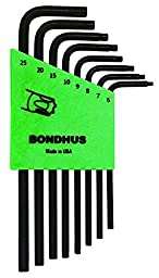 Bondhus 32432 Set of 8 Tamper Resistant Star L-wrenches, Long Length, sizes TR6-TR25