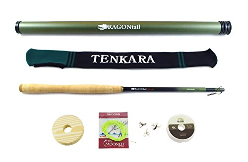 DRAGONtail Tenkara Hellbender Zoom 13′ / 11.3′ Tenkara Rod Plus Complete Starter Package – Flies, Leader, Tippet, Line Holder, Storage Tube, and Rod Sock For Sale