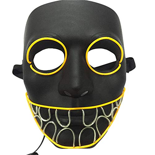 Gessppo Halloween Mask Novel Scary Mask LED Cold Light Illuminating Painted Cosplay Led Night Light Costume EL Wire Light up Mask for Festival Party (A)