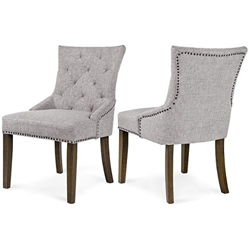 Chair Upholstered Chestnut - Merax WF010762 Dining Chair with Armrest, Nailhead Trim, Linen Upholstery Set of 2 (Gray)