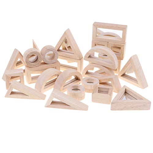 - SM SunniMix Wooden Stacking Blocks Toys for Kids Toddlers, 24PCS Geometric Mirror Blocks Building Construction Toy, Shape Sorter Montessori Toy