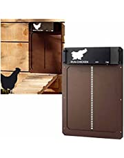 LNIBA Elektrische kippenhok, automatische kippenhok met lichtsensor, lichtgevoelig, automatische kippenhok, deuropener, voor kippen, eenden, ochtendavond, veilig