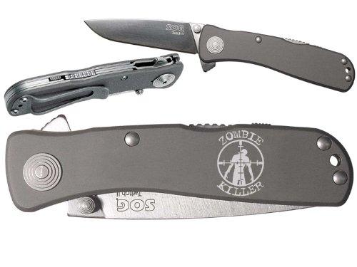 Zombie Killer T&B Custom engraved SOG Twitch II TWI-8 Assisted Folding Pocket Knife by NDZ Performance