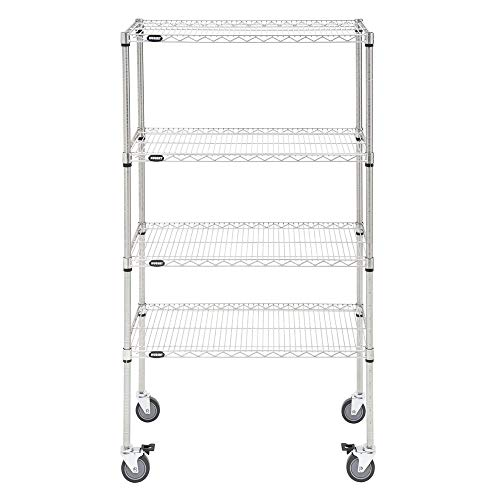 (HUBERT Mobile Shelving Unit with 4 Shelves Silver Metal - 36