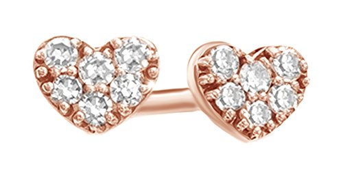 Pave Diamond Heart Earrings (White Natural Diamond Accent Heart Stud Earrings In 14K Solid Rose Gold)