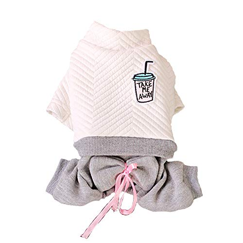 (FLAdorepet Winter Warm Dog Coat Jacket Clothes Dog Jumpsuit Rompers Hoodie Dog Pajamas Clothing (M, White) )