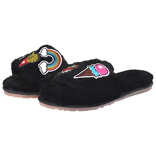 Women's Fur Slippers Home Cartoon Plush Slides Comfortable Flat Indoor Ice Cream Prints Sandals Shoes hot sale