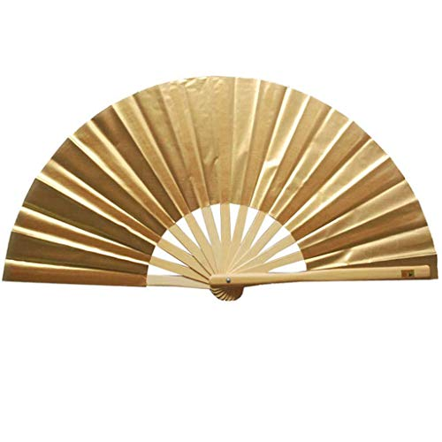 Hunputa Bamboo Wood Silk Folding Fan, Chinese/Japanese Vintage Retro Style Handmade Silk Black Hand Fan with a Fabric Sleeve and Tassels for Home Decoration Party Wedding Dancing Easter Gift