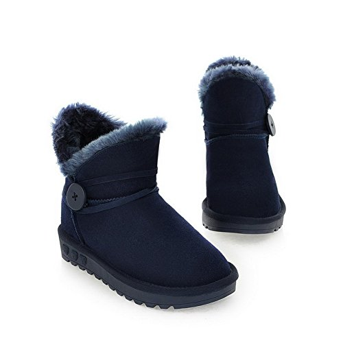M Heels 6 B Boots Short with AmoonyFashion Leather Low Cow Round Toe Darkblue Plush 5 US Frosted Buckle Solid Closed Womens XcwWq41H