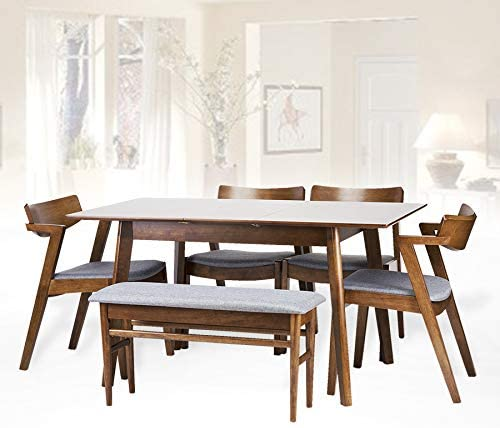 Amazon Com Set Of 6 4 Tracy Dining Chairs Extendable Table Bench Kitchen Modern Solid Wood W Padded Seat Medium Brown Color With Light Gray Cushion Table Chair Sets