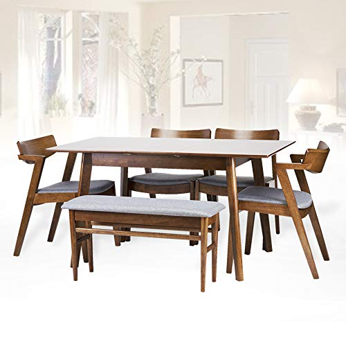 Dining Room Set of 6: 4 Tracy Chairs Extendable Table Bench Kitchen Modern Solid Wood w/Padded Seat Medium Brown Color with Light Gray Cushion