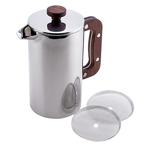 Miuly French Press Wood Handle, Coffee Tea Maker with 18/8 Stainless Steel, 2pcs Filter Free
